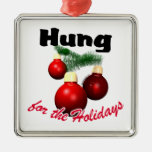 Hung for the Holidays Square Metal Christmas Ornament