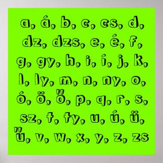 Hungarian alfabeto en green póster