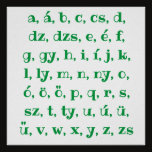 Hungarian alphabet in  green poster