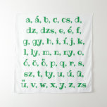 Hungarian alphabet in  green tapestry