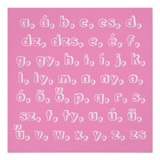 Hungarian alphabet in pink poster