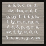 Hungarian alphabet in  wood look poster