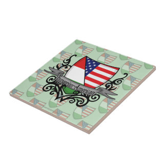 Hungarian-American Shield Flag Ceramic Tile