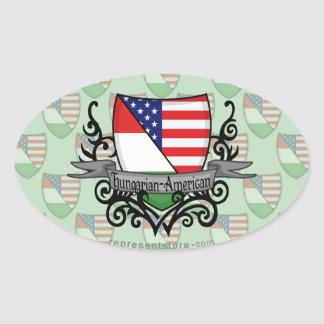 Hungarian-American Shield Flag Oval Sticker