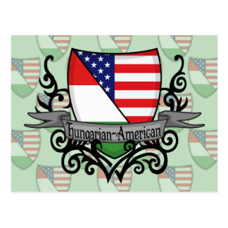 Hungarian-American Shield Flag Postcard
