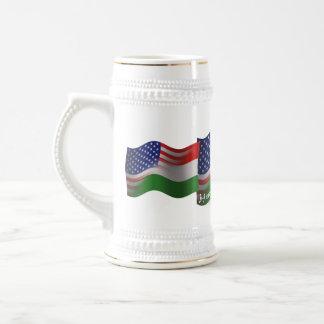 Hungarian-American Waving Flag Beer Stein