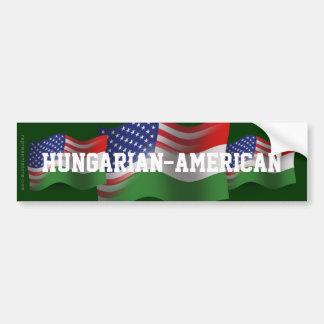 Hungarian-American Waving Flag Bumper Sticker