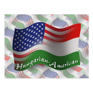 Hungarian-American Waving Flag Postcard