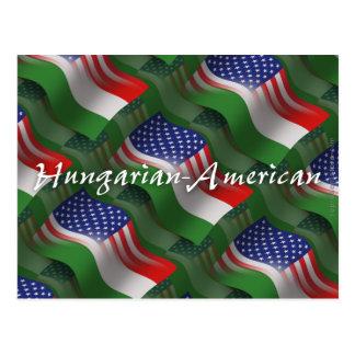 Hungarian-American Waving Flag Postcard