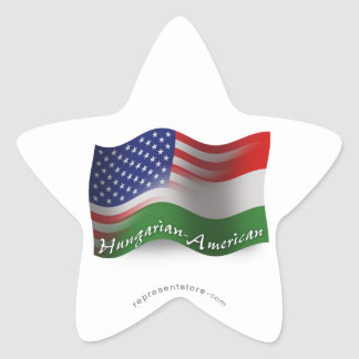 Hungarian-American Waving Flag Star Sticker