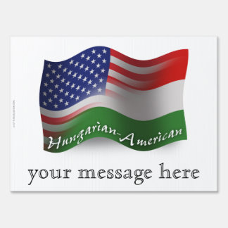 Hungarian-American Waving Flag Lawn Sign