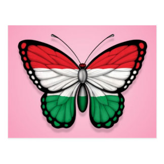 Hungarian Butterfly Flag on Pink Postcard