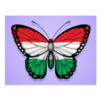 Hungarian Butterfly Flag on Purple Postcard