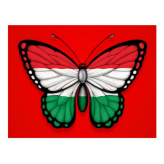 Hungarian Butterfly Flag on Red Postcard