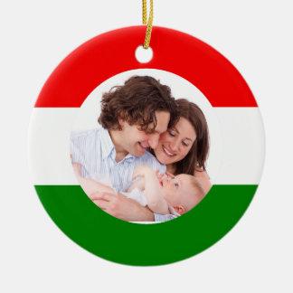 Hungarian Christmas Hungary Flag Family Photo Ceramic Ornament