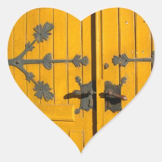 Hungarian Decorated Yellow Door Heart Sticker
