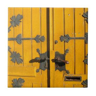 Hungarian Decorated Yellow Door Tile