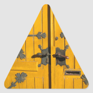 Hungarian Decorated Yellow Door Triangle Sticker