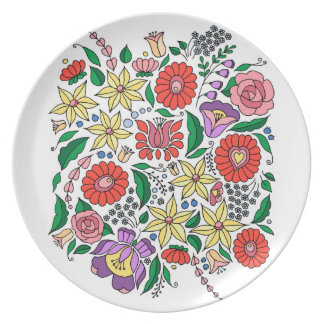 Hungarian embroidery inspired flowers plate