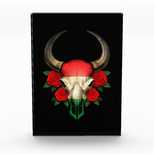 Hungarian Flag Bull Skull with Red Roses Acrylic Award