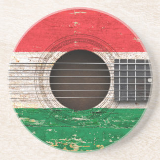 Hungarian Flag on Old Acoustic Guitar Drink Coaster