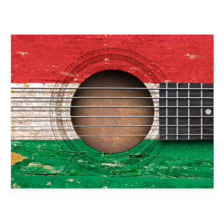 Hungarian Flag on Old Acoustic Guitar Postcard