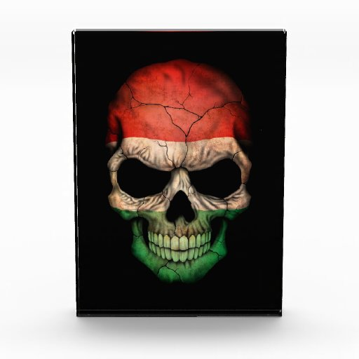 Hungarian Flag Skull on Black Acrylic Award