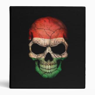 Hungarian Flag Skull on Black 3 Ring Binder