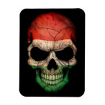 Hungarian Flag Skull on Black Magnets