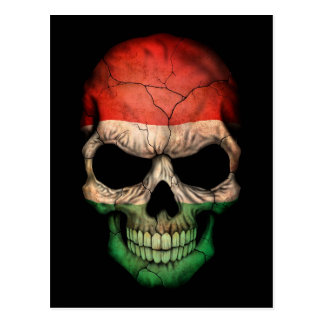 Hungarian Flag Skull on Black Postcard