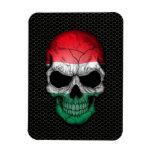 Hungarian Flag Skull on Steel Mesh Graphic Magnet