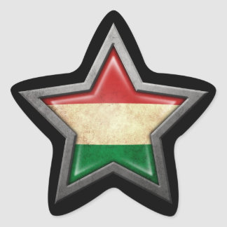 Hungarian Flag Star on Black Star Sticker