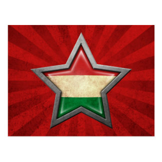 Hungarian Flag Star with Rays of Light Postcard