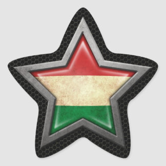 Hungarian Flag Star with Steel Mesh Effect Star Sticker