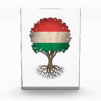 Hungarian Flag Tree of Life Customizable Acrylic Award