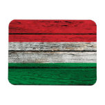 Hungarian Flag with Rough Wood Grain Effect Vinyl Magnet