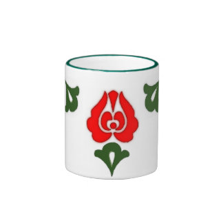 Hungarian floral motifs -Red tulips Ringer Coffee Mug