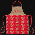 Hungarian floral pattern in red apron