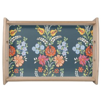 Hungarian Floral Pattern Serving Tray