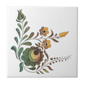 Hungarian Flower Decoration Ceramic Tile