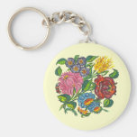 hungarian flowers basic round button keychain