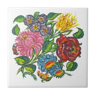 Hungarian flowers ceramic tile