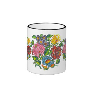 hungarian flowers ringer coffee mug