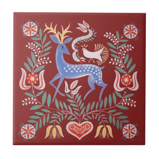 Hungarian Folk Art Ceramic Tile | Zazzle.com