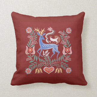 Hungarian Folk Art Deer with Deep Red Background Throw Pillow