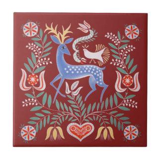 Hungarian Folk Art Small Square Tile