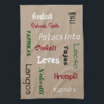 "Hungarian Foods Hand Towel<br><div class=""desc"">My tummy was growling from hunger just making this kitchen towel!  Hungarian cuisine is the center point of this design... perfect for any Hungarian kitchen.</div>"