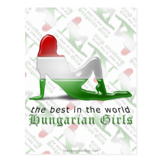 Hungarian Girl Silhouette Flag Postcard