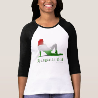 Hungarian Girl Silhouette Flag T Shirts