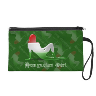 Hungarian Girl Silhouette Flag Wristlet Purse